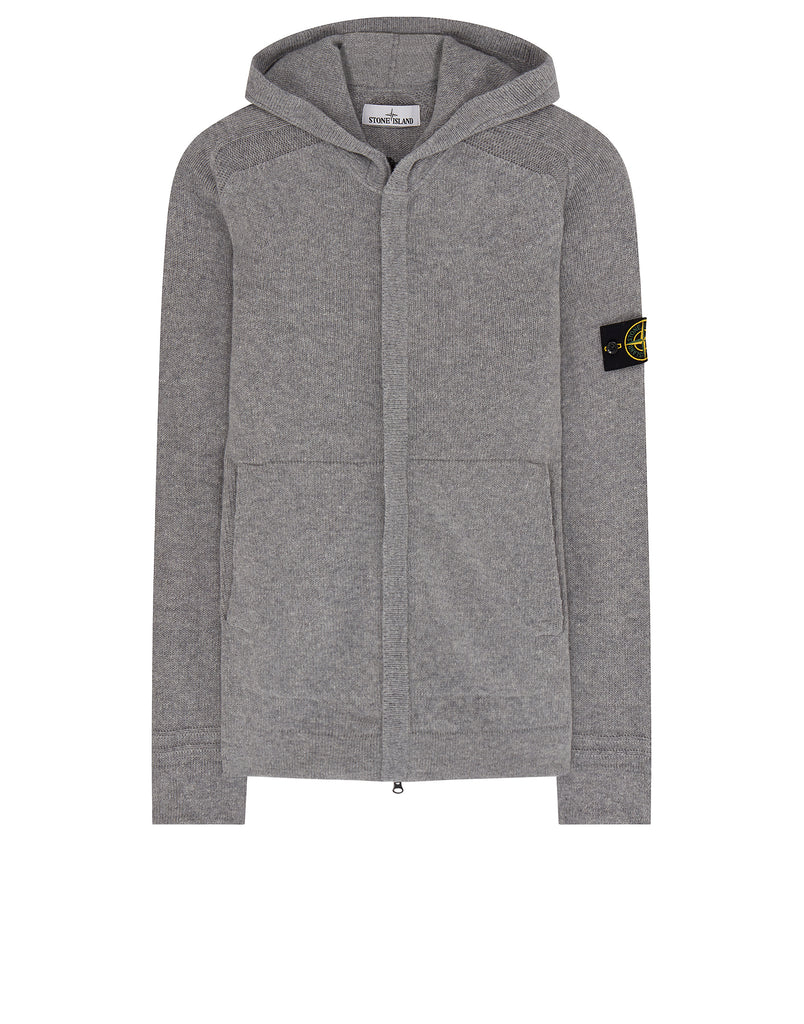528A3 Hooded Zip Knit in Perl Grey