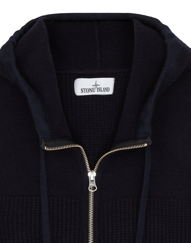 565A2 Hooded Cardigan in Navy Blue
