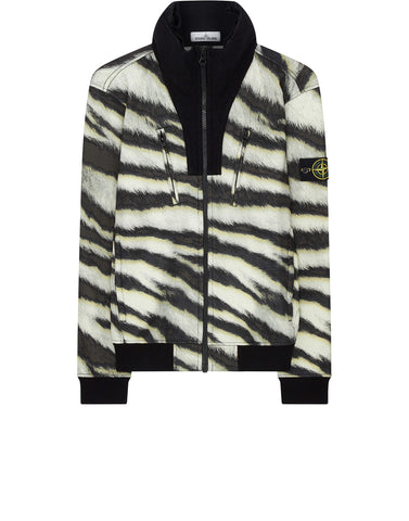 652E3 White Tiger Camo Cardigan in Beige