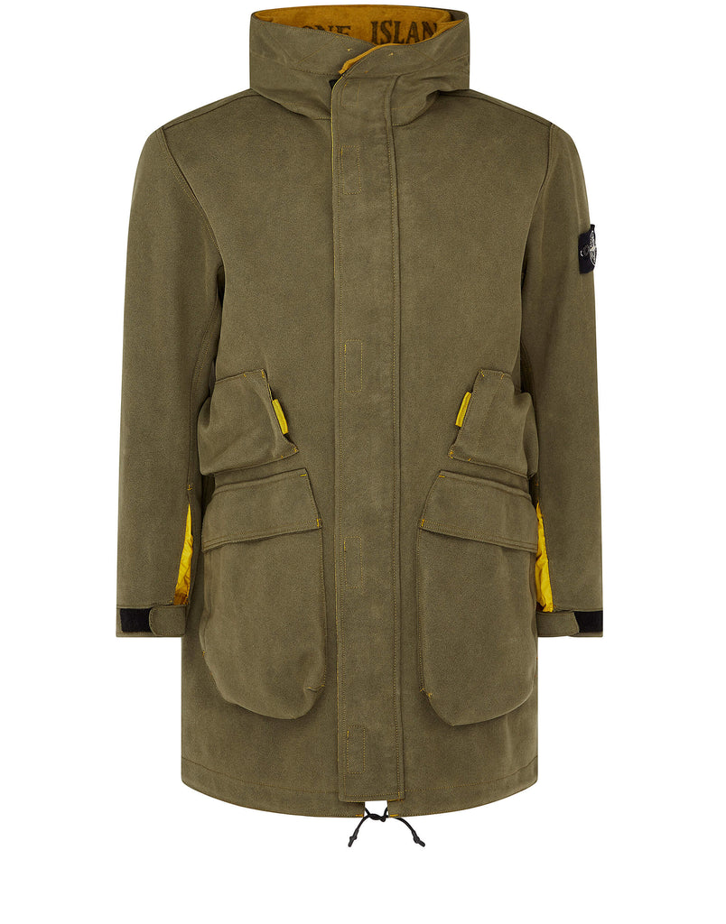 71229 Man Made Suede-Tc Coat in  Mustard