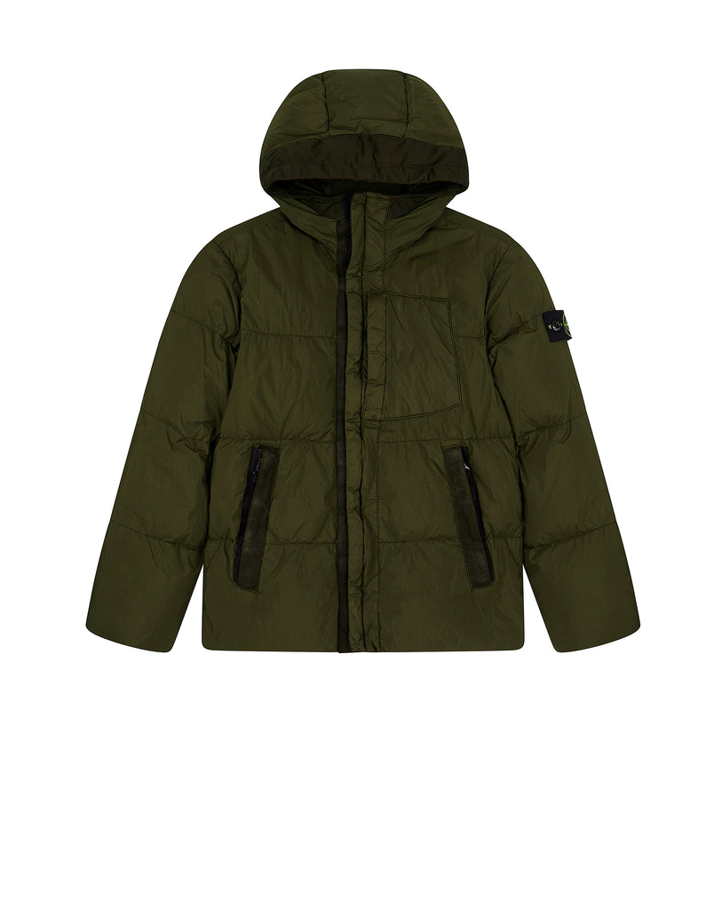 40133 CRINKLE REPS NY DOWN GARMENT DYED Jacket in Military Green