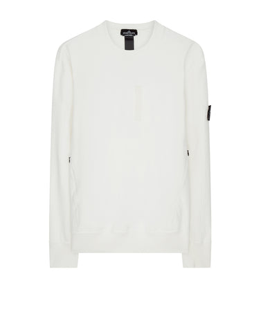 60107 DROP POCKET CREWNECK (DIAGONAL WEAVE FELPA) GARMENT DYED in White