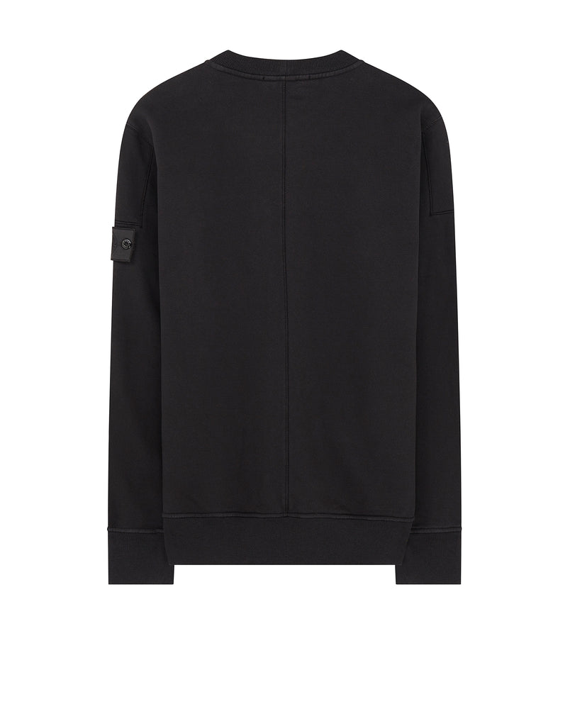 60107 DROP POCKET CREWNECK (DIAGONAL WEAVE FELPA) GARMENT DYED in Black