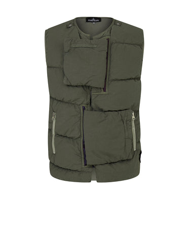 G0102 ENCASE PANEL DOWN VEST (NASLAN LIGHT) SINGLE LAYER FABRIC Waistcoat in Military Green