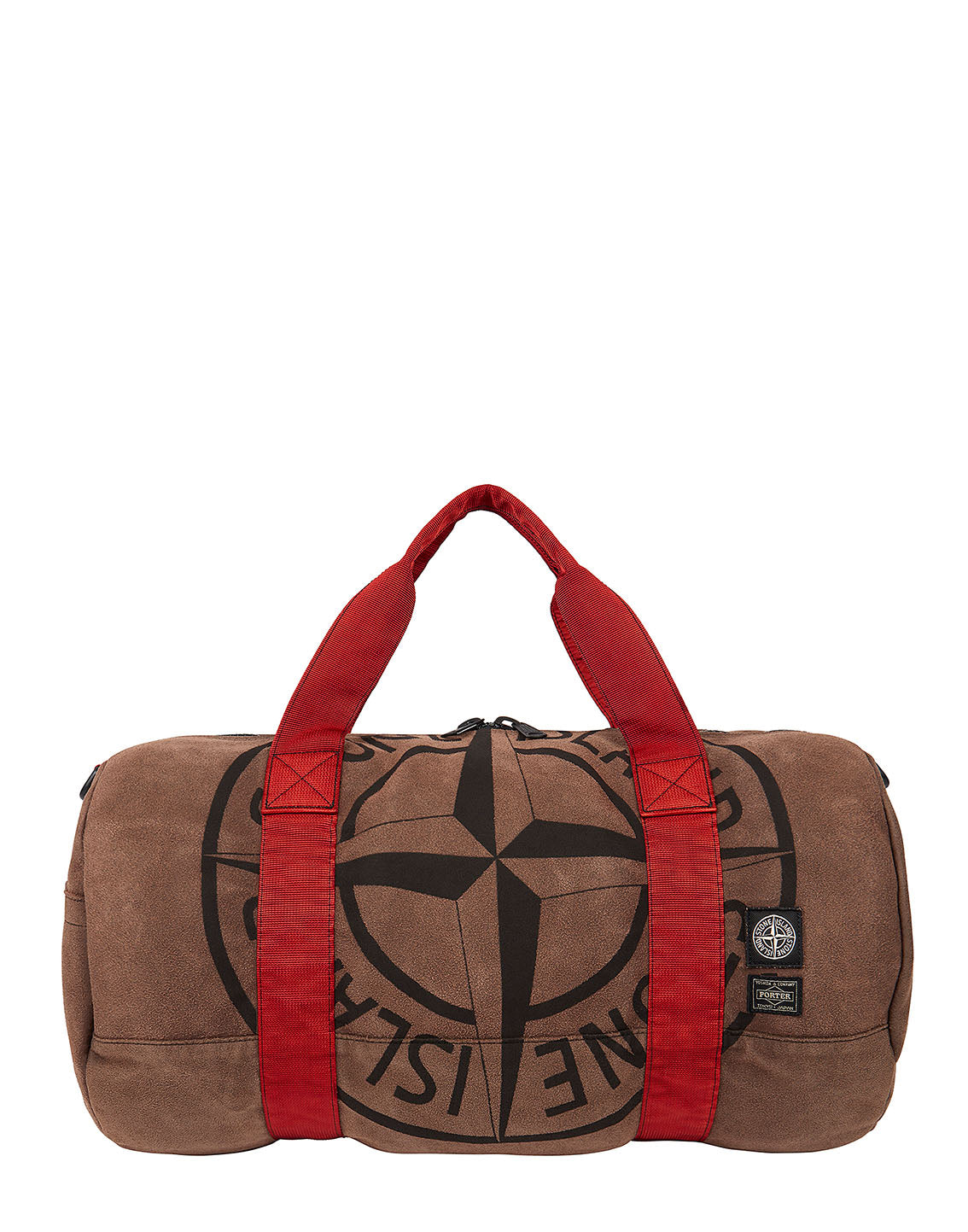 913P1 STONE ISLAND/PORTER STONE ISLAND MAN MADE SUEDE_GARMENT DYED BAG in Brick Red
