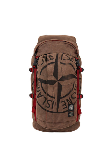914P1 STONE ISLAND/PORTER STONE ISLAND MAN MADE SUEDE_GARMENT DYED RUCKSACK in Brick Red