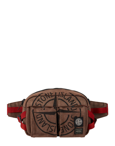 916P1 STONE ISLAND/PORTER STONE ISLAND MAN MADE SUEDE_GARMENT DYED BUMBAG in Brick Red
