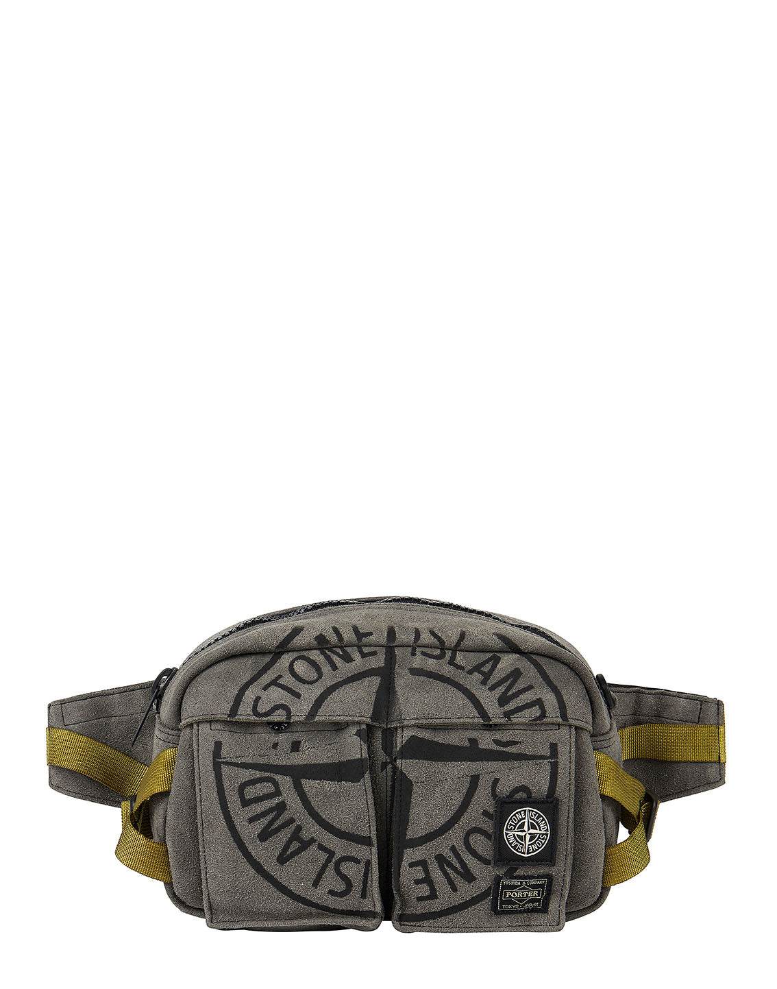 916P1 STONE ISLAND/PORTER STONE ISLAND MAN MADE SUEDE_GARMENT DYED BUMBAG in Olive