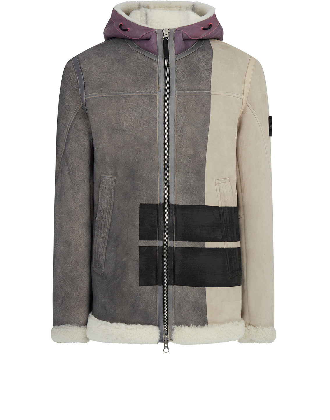 00195 Hand Sprayed Over Printed Sheepskin Hooded Jacket in Dove Grey