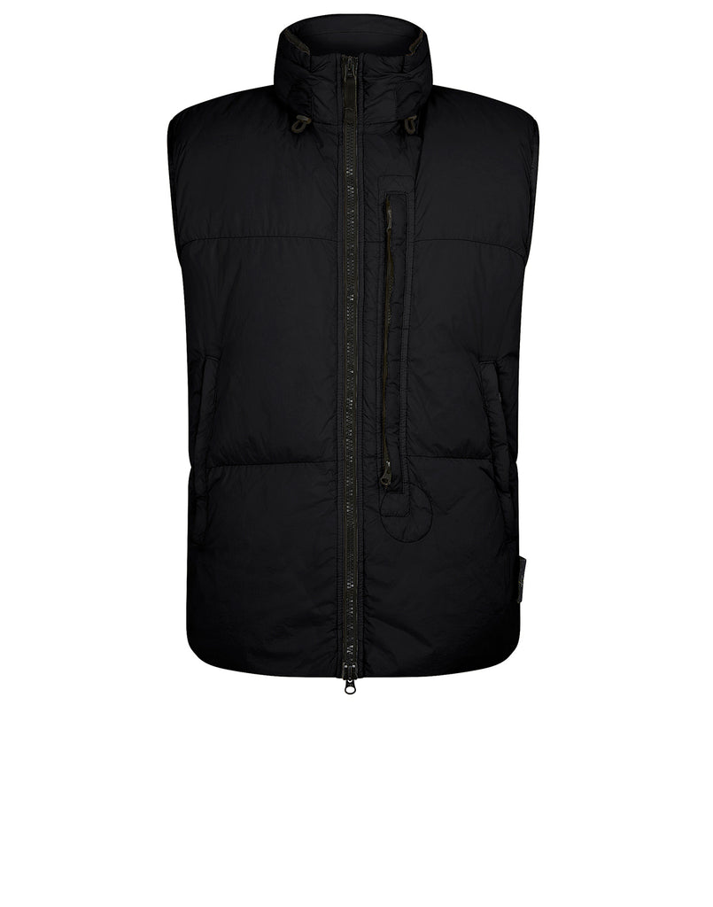 G0123 Garment Dyed Crinkle Reps Ny Down Vest in Black