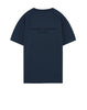 216X3 STONE ISLAND MARINA POLYESTER SEAQUAL® YARN/COTTON JERSEY T-Shirt in Dark Blue