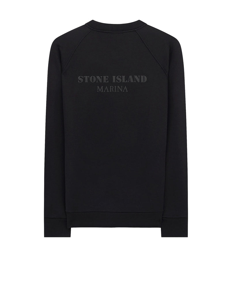 657X2 STONE ISLAND MARINA COTTON/POLYESTER SEAQUAL® YARN FLEECE Sweatshirt in Black