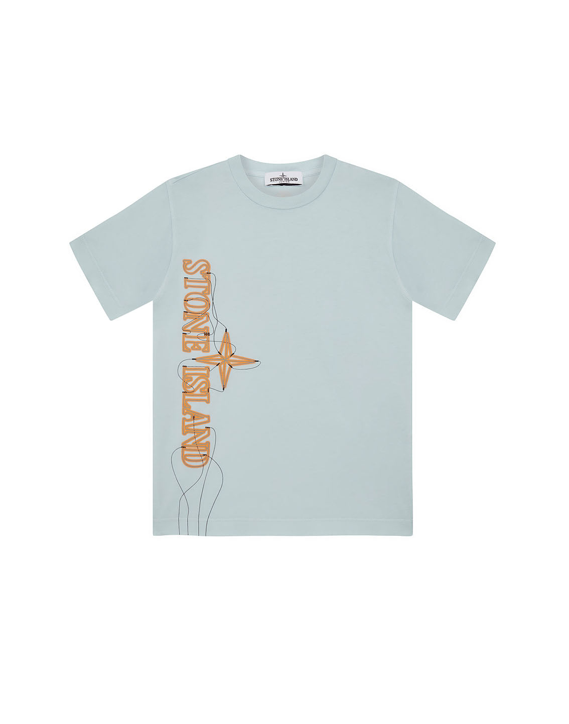 21059 'NEON LIGHTS TWO' PRINT T-Shirt in Sky Blue