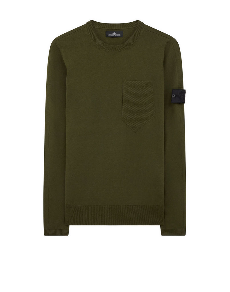 506A4 CATCH POCKET CREWNECK Knit in Olive Green