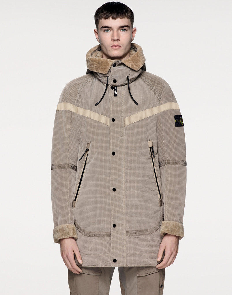 NIKELAB X STONE ISLAND 401N1 JACQUARD GRID ON WOOL FUR Jacket in Bark