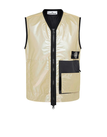 G07M1 IRIDESCENT COATING TELA WITH REFLEX MAT Waistcoat in Wheat
