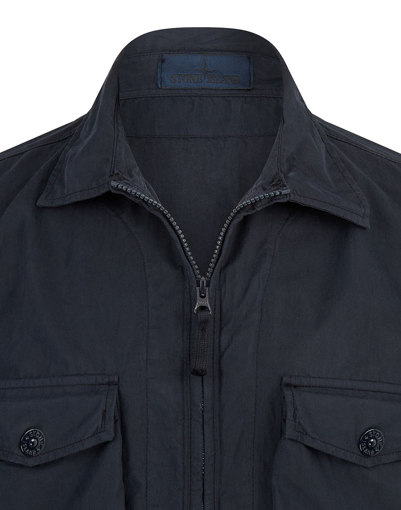 103F2 GHOST PIECE_COTTON NYLON TELA Overshirt in Navy Blue