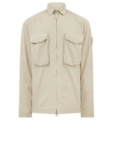 103F2 GHOST PIECE_COTTON NYLON TELA Overshirt in Beige