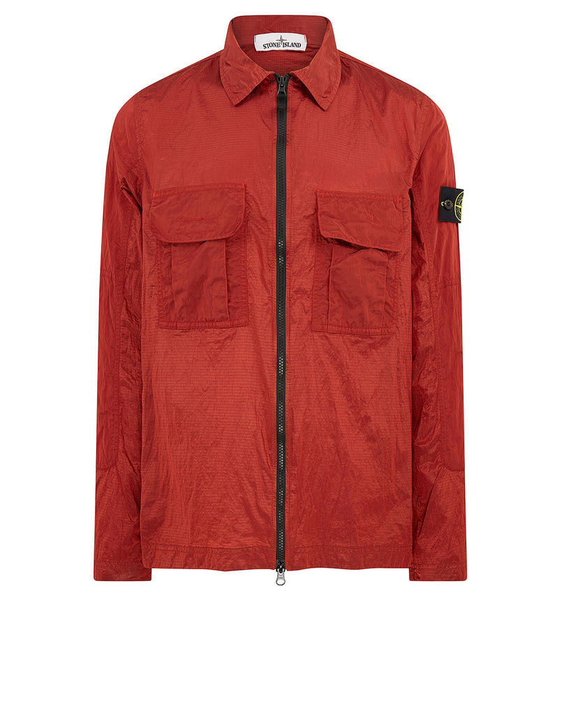 11117 NYLON METAL RIPSTOP Overshirt in Brick Red