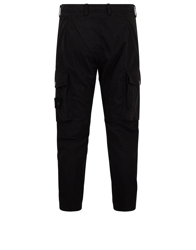 314F2 GHOST PIECE_COTTON NYLON TELA Trousers in Black