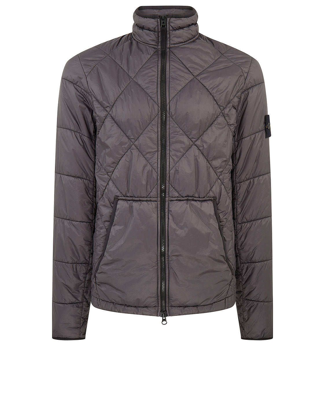 40424 GARMENT DYED QUILTED MICRO YARN Jacket in Charcoal
