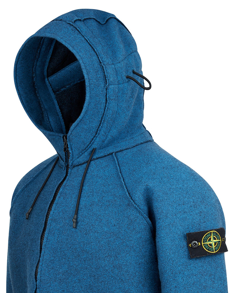 565A6 Felted Pure Wool Detachable Lining Hooded Jacket in Periwinkle