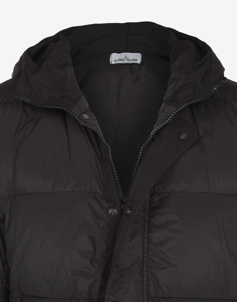 40823 GARMENT DYED CRINKLE REPS NY DOWN Hooded Parka in Black