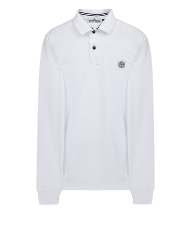 2CC15 Cotton Pique Long Sleeve Polo Shirt in White