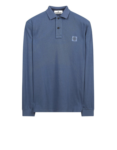 2CC15 Cotton Pique Long Sleeve Polo Shirt in Light Blue