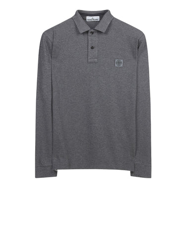 2CC15 Cotton Pique Long Sleeve Polo Shirt in Grey