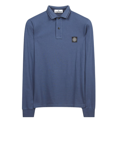 2CC15 Cotton Pique Long Sleeve Polo Shirt in Blue