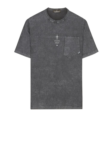 20105 CATCH POCKET T-SHIRT _ GAUZED COTTON JERSEY WITH FALLOUT COLOUR TREATMENT in Grey