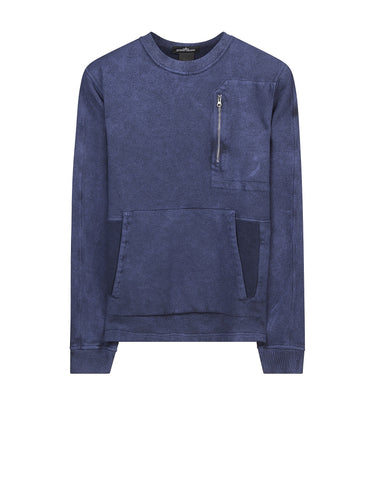 60310 CREWNECK SWEAT _ GAUZED COTTON FLEECE WITH FALLOUT COLOUR TREATMENT in Blue