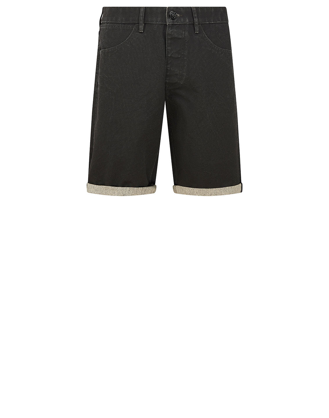 L11J1 PANAMA PLACCATO Bermuda Shorts in Black