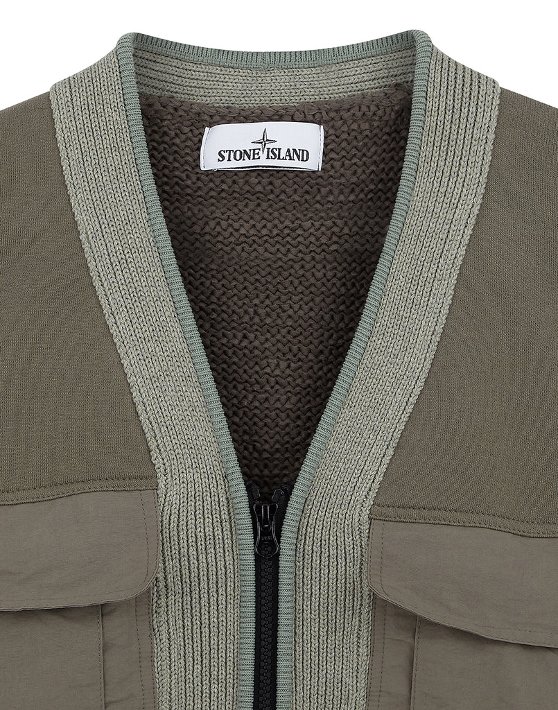 520D8 Zip V Neck Cardigan Knit in Sage