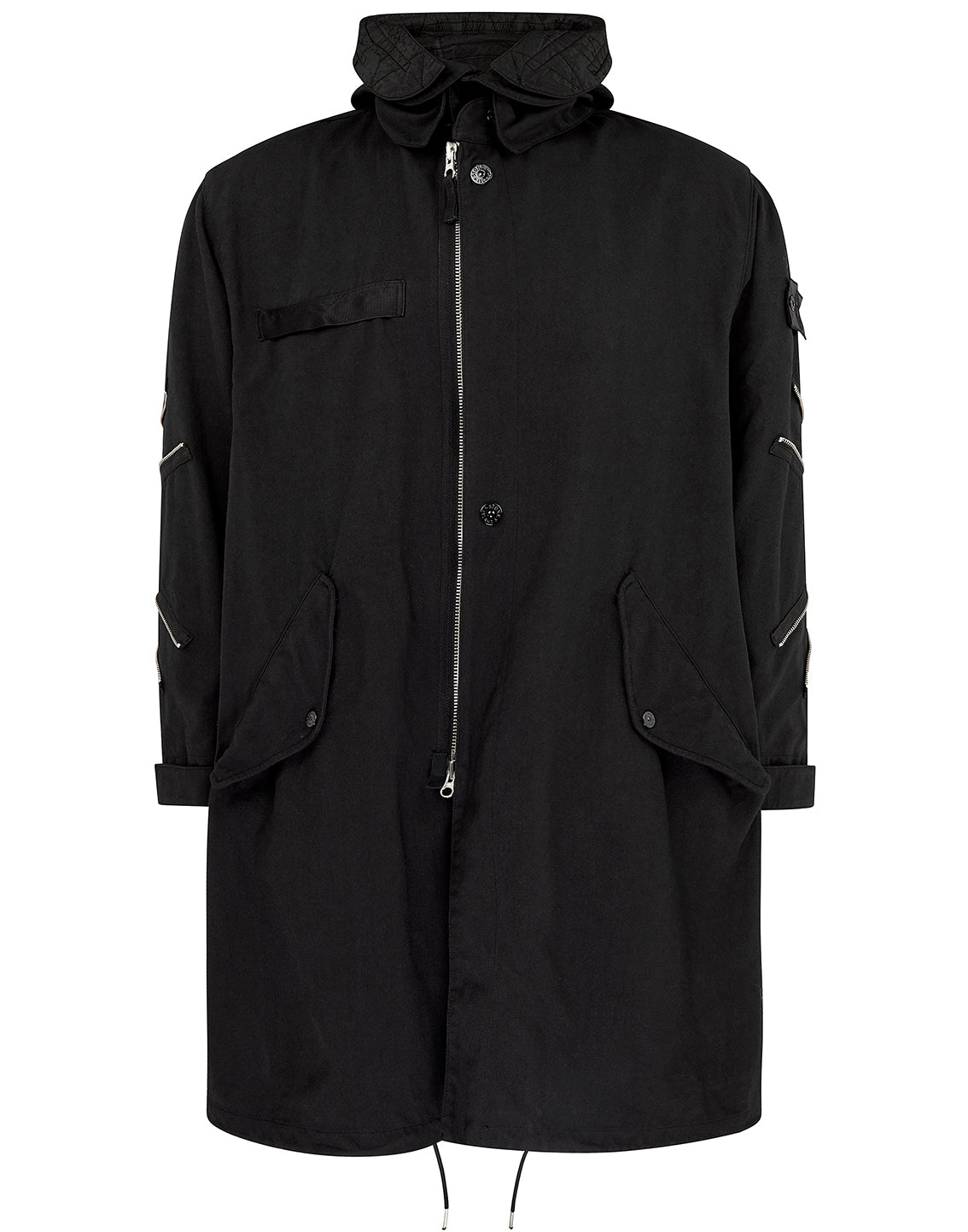 70401 OVERSIZED ARTICULATED FISHTAIL PARKA in Black