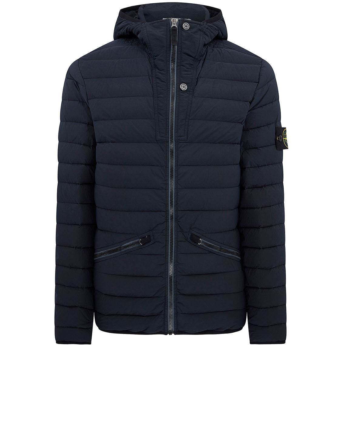 43125 Loom Woven Down Chambers Stretch Nylon-TC Jacket in Navy Blue