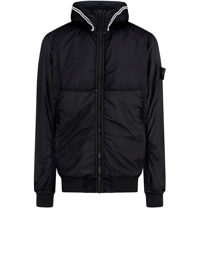 40423 GARMENT DYED CRINKLE REPS NY WITH PRIMALOFT®-TC: Hooded blouson in Black