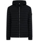 41125 LOOM WOVEN DOWN CHAMBERS STRETCH NYLON-TC: Hooded Down Blouson in Black
