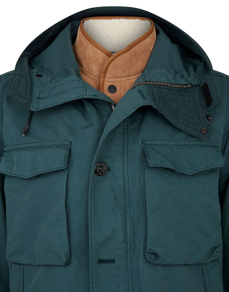 41349 David-TC Jacket with Sheepskin Detachable Lining in Petrol