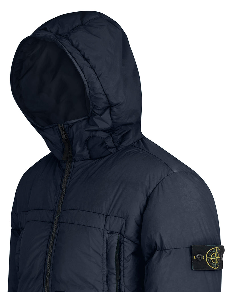 40723 GARMENT DYED CRINKLE REP NY Real Down Jacket in Navy