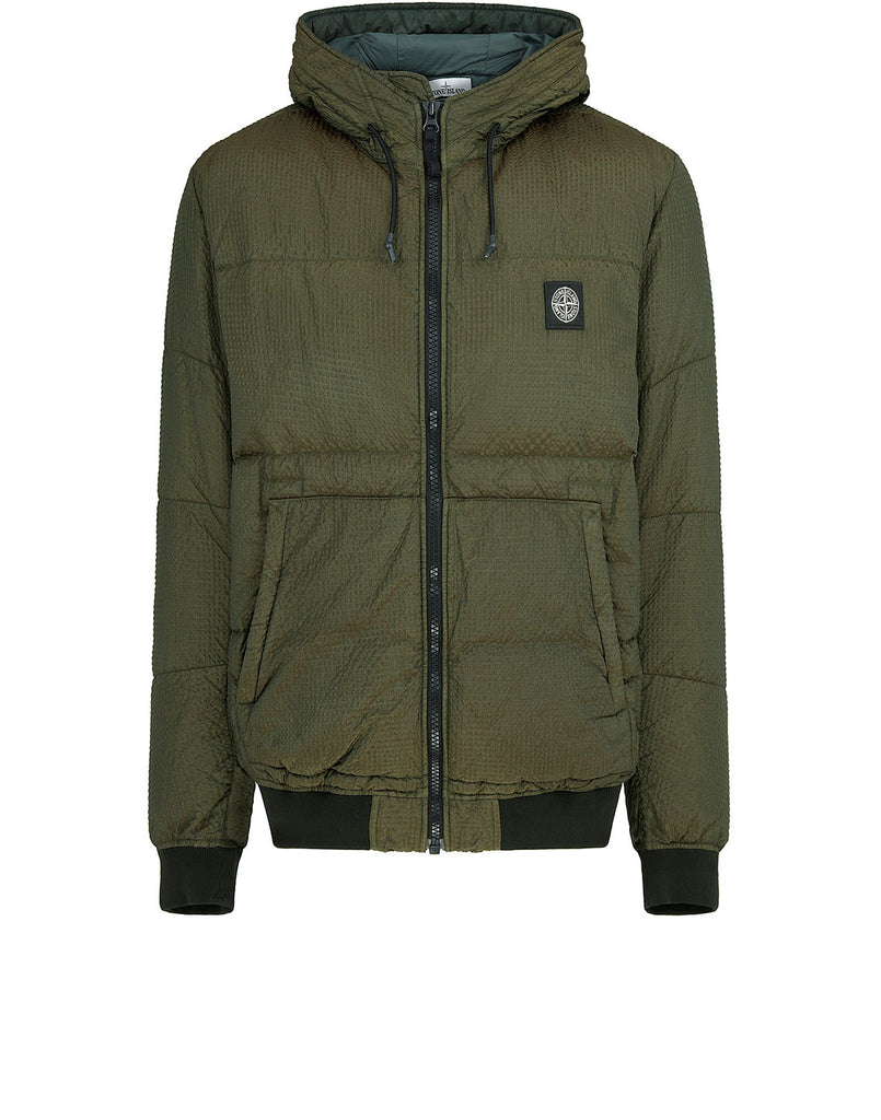 42634 POLY-COLOUR FRAME DOWN-TC: Hooded Blouson in Dark Forest
