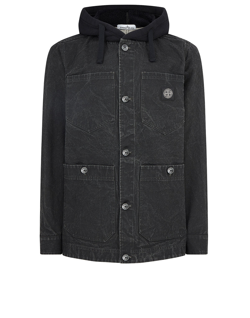 428J1 PANAMA PLACCATO + PANNO JACQUARD Jacket in Black