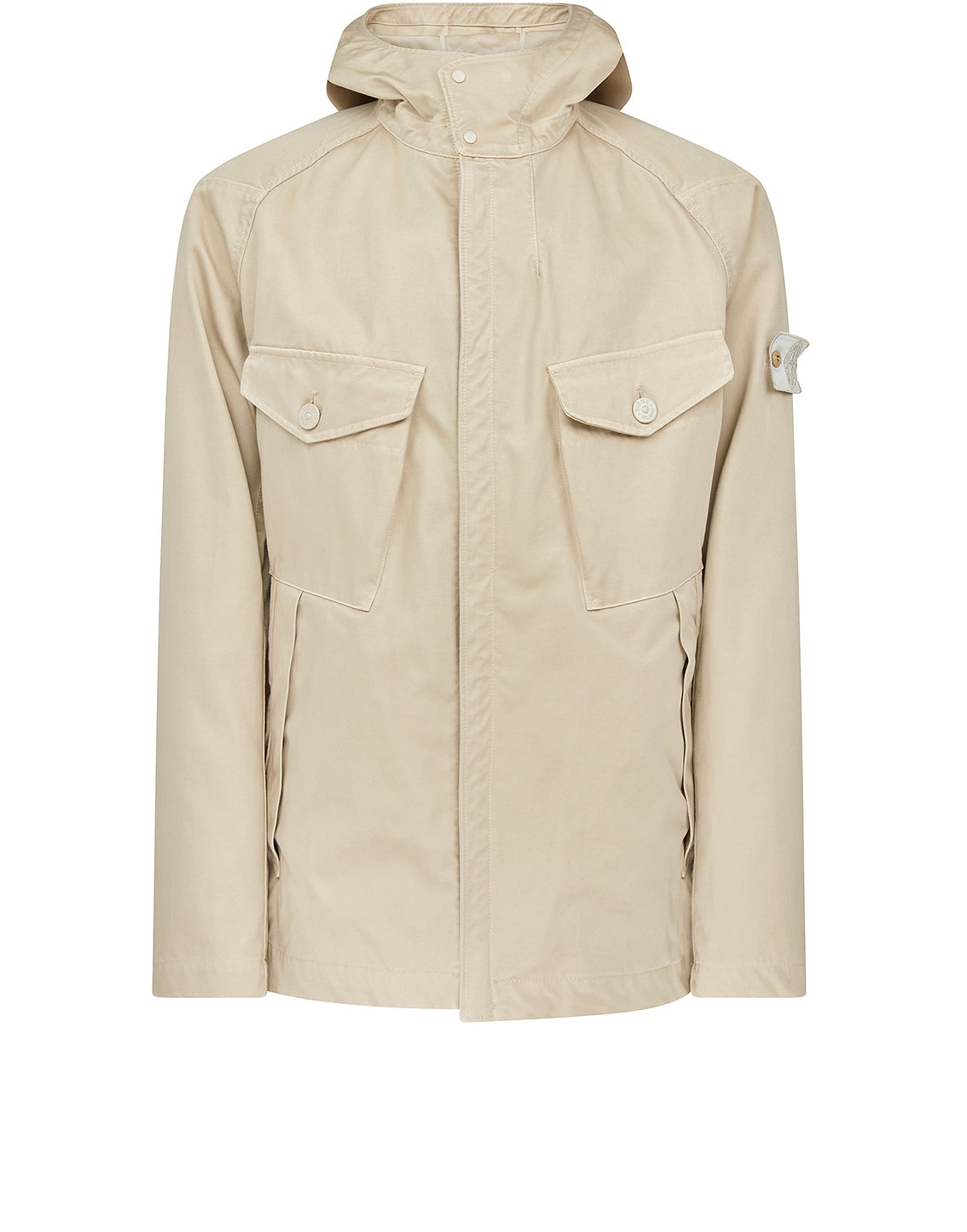 441F1 Raso Gommato Double Ghost Piece Hooded Jacket in Beige