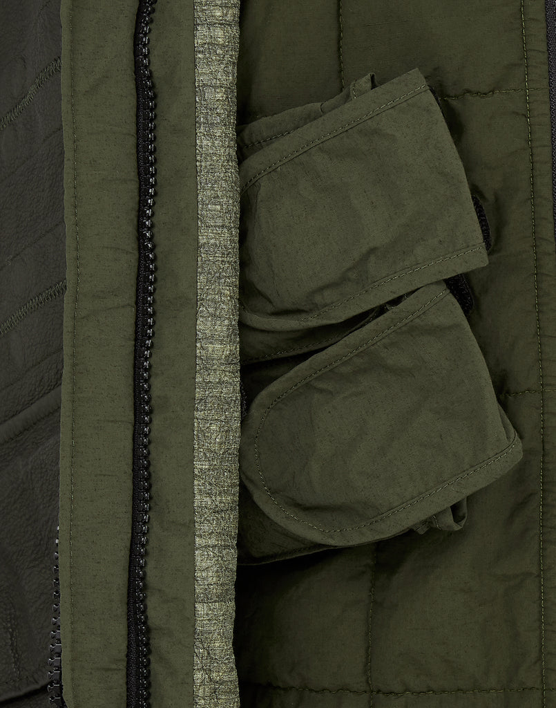 00195 GARMENT DYED LEATHER / DYNEEMA®_ REVERSIBLE_ DETACHABLE LINING Jacket in Olive