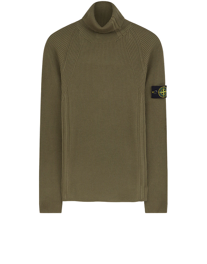 542C2 Ribbed Wool Rollneck Knit in Olive