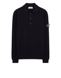 589A1 Wool Polo Shirt in Navy Blue