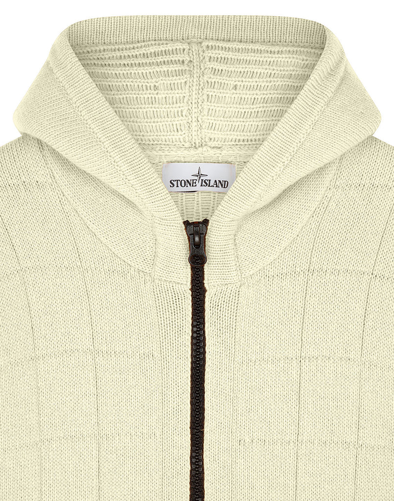 579B7 Hooded Knitted Cardigan in Butter