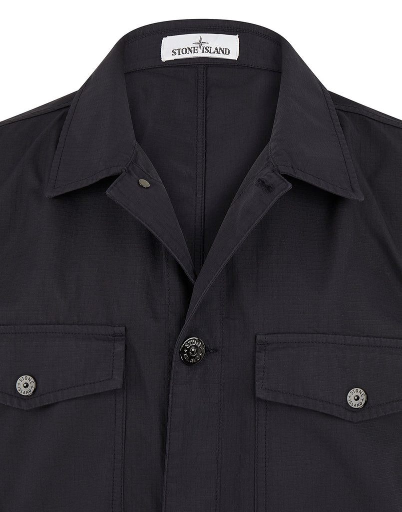 12707 STRUCTURED COTTON Overshirt  in Navy Blue
