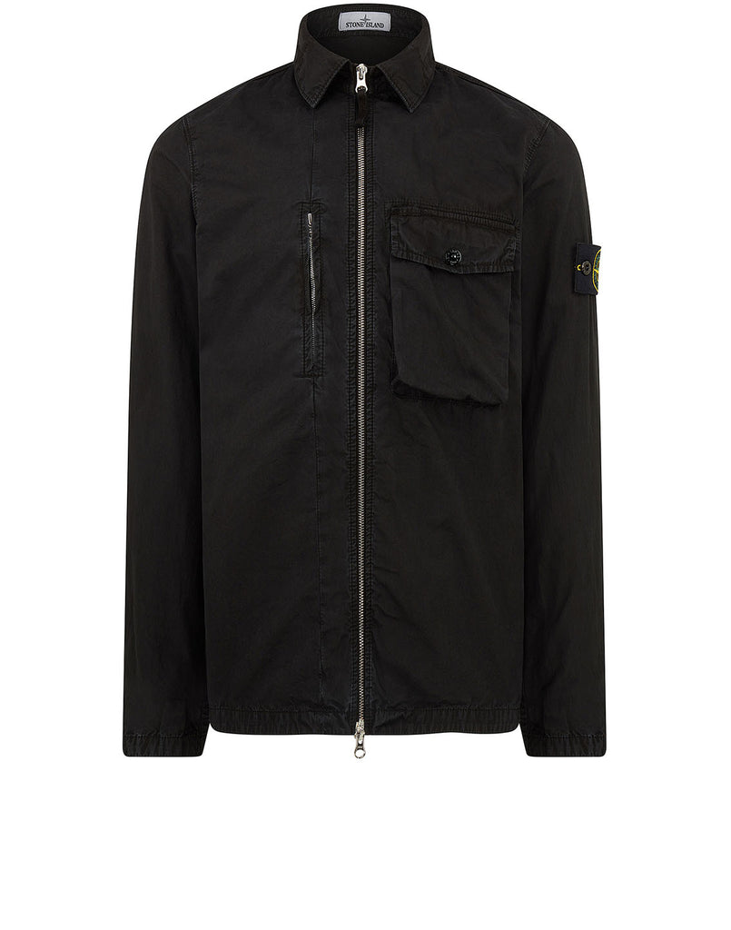 121WN OLD DYE TREATMENT Overshirt in Black